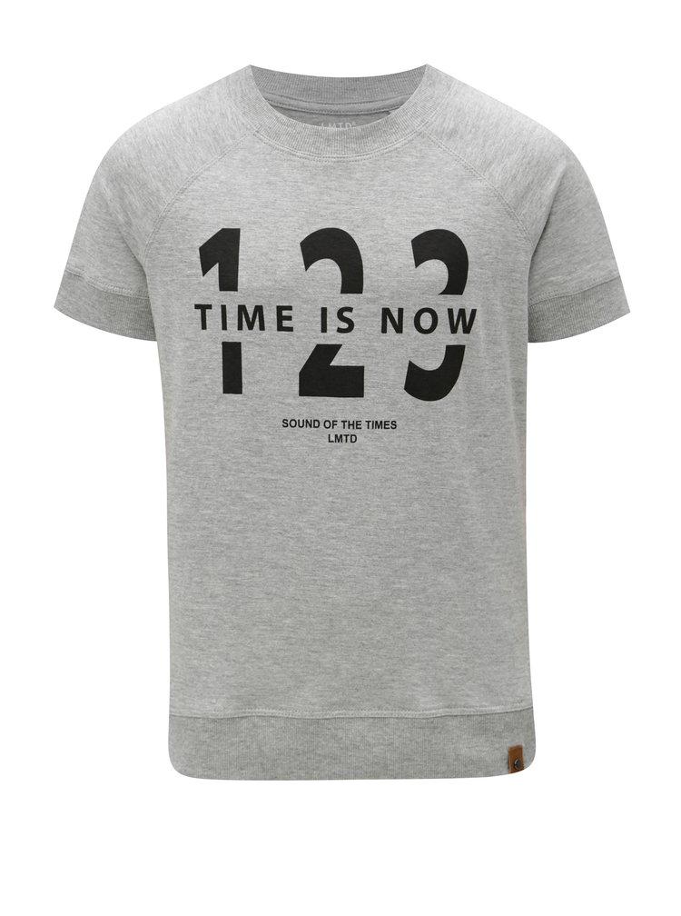 Šedé klučičí žíhané tričko s potiskem LIMITED by name it Ken