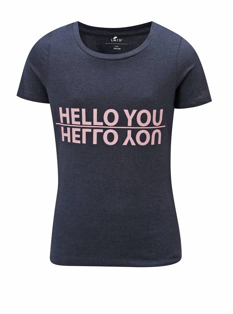Tmavě modré holčičí tričko s potiskem LIMITED by name it Veenkada
