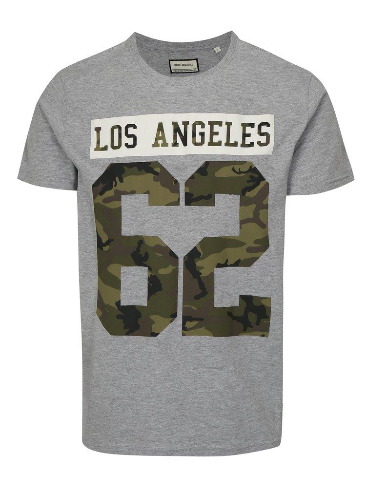 Šedé tričko s potiskem Los Angeles Shine Original
