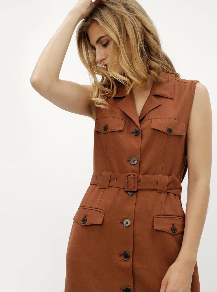 Hnědé košilové šaty s textilním páskem Selected Femme Linny