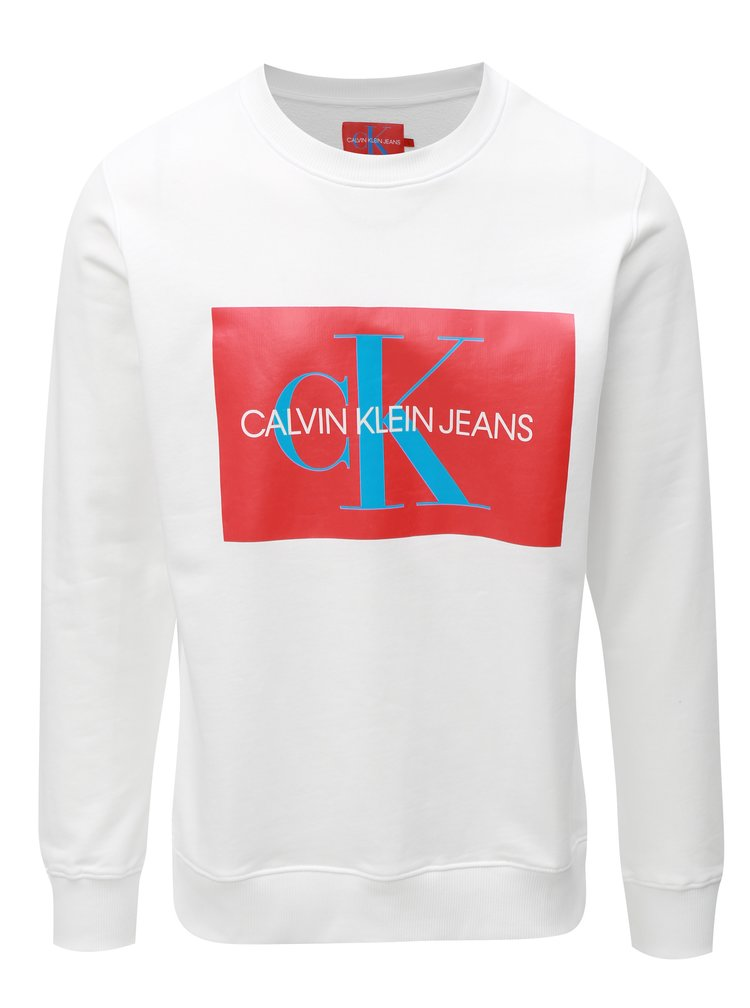 Červeno-bílá pánská mikina s potiskem Calvin Klein Jeans