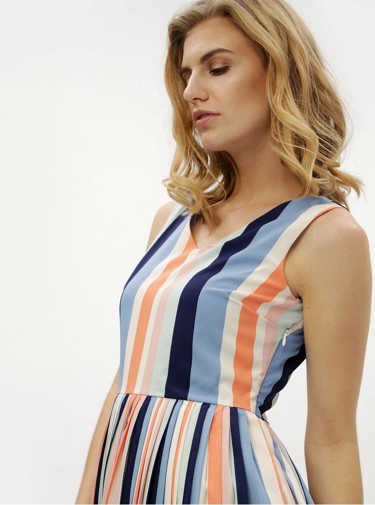 Krémovo-modré pruhované šaty Fever London Stripe