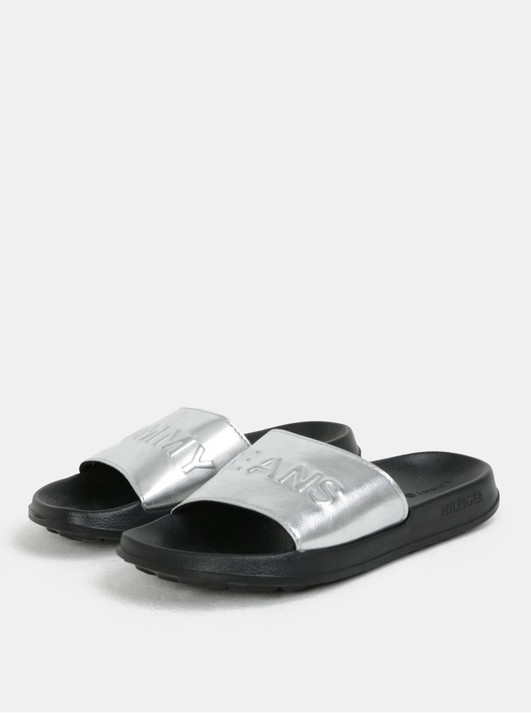 Dámské pantofle ve stříbrné barvě Tommy Hilfiger