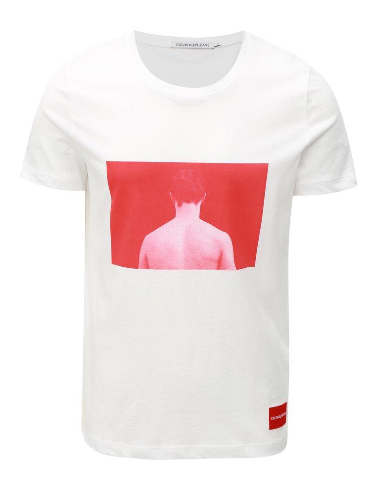 Červeno-bílé pánské tričko s potiskem a nášivkou Calvin Klein Jeans