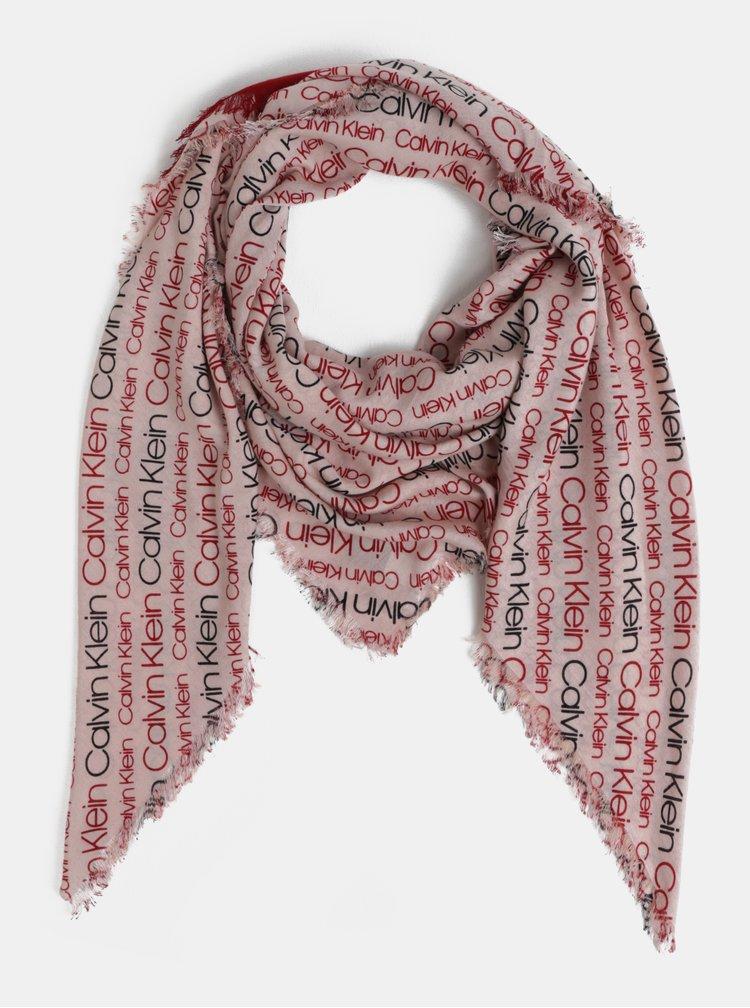 Červeno-růžový dámský šátek Calvin Klein Jeans