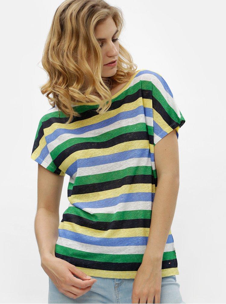 Zeleno-žluté dámské pruhované lněné tričko Tommy Hilfiger
