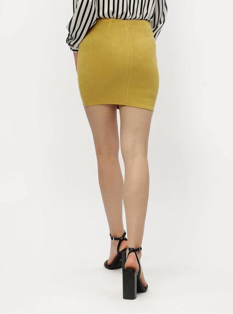 Hořčicová pouzdrová sukně MISSGUIDED