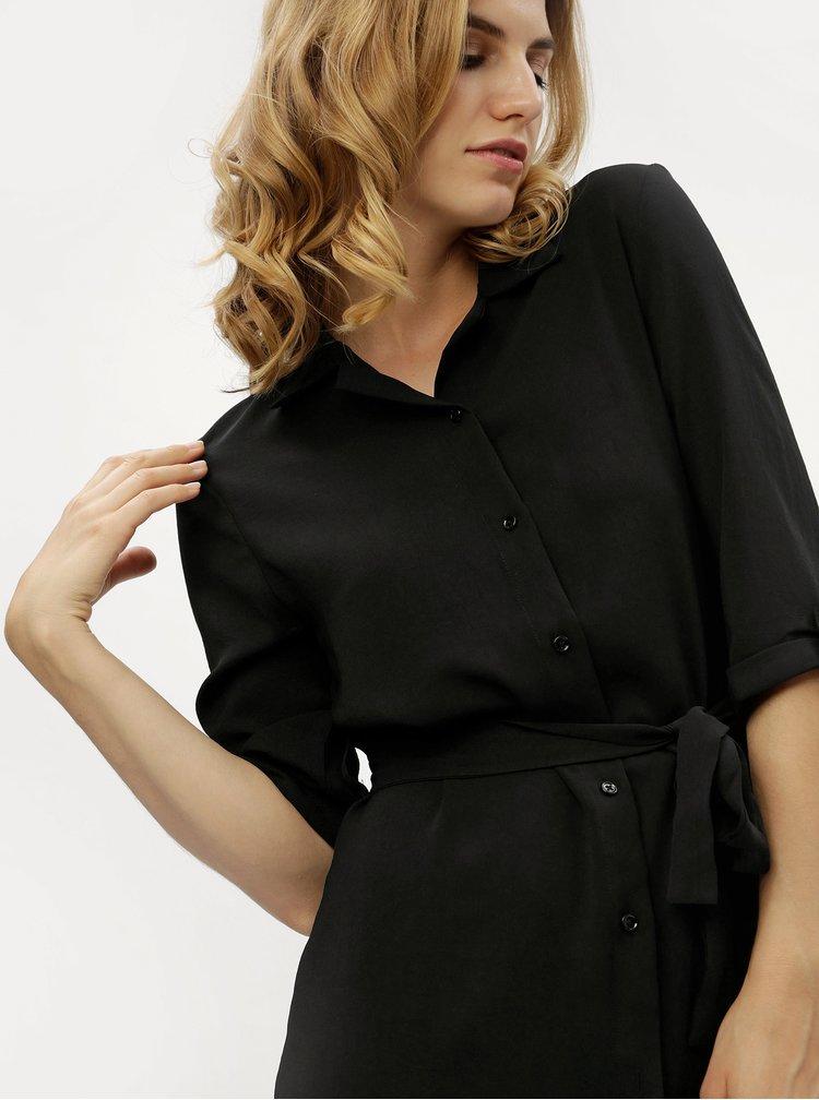 Černé průsvitné košilové šaty s 3/4 rukávem MISSGUIDED