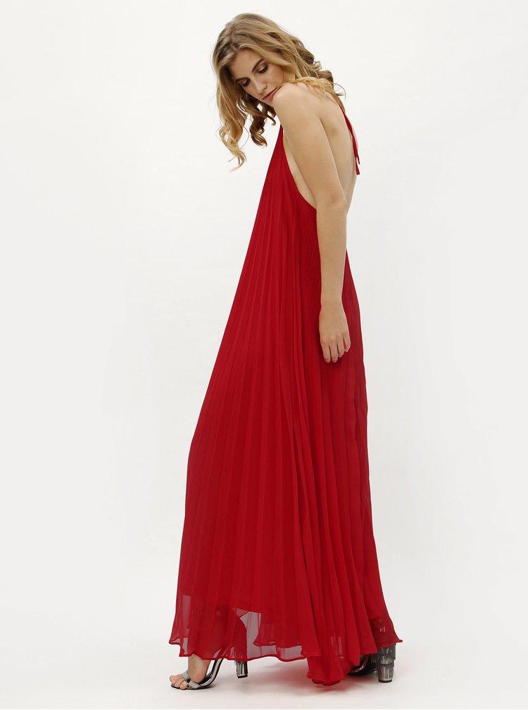 Červené plisované maxišaty MISSGUIDED