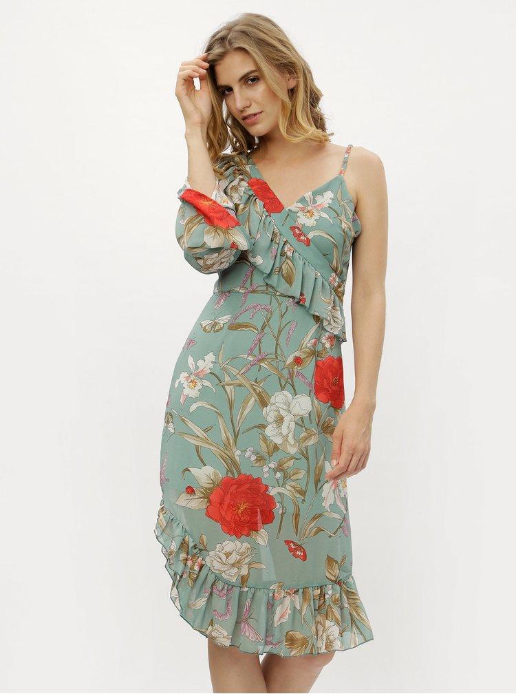 Zelené asymetrické kvetované šaty s volánmi MISSGUIDED