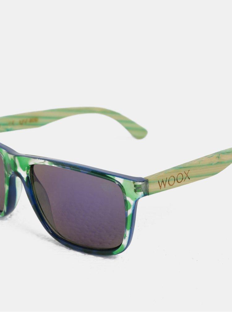 Zelené vzorované sluneční brýle s bambusovými nožičkami WOOX Contrasol Bambusa Chloris
