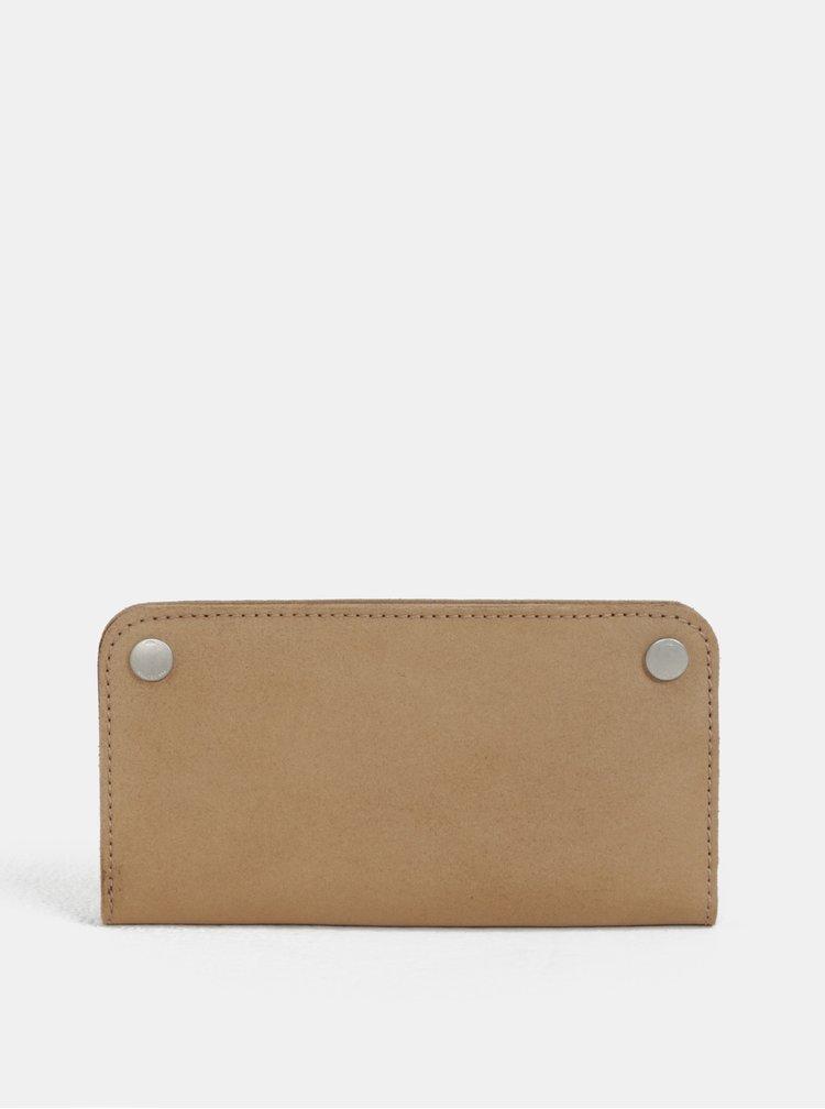 Světle hnědá kožená peněženka s patentkami WOOX Ellen