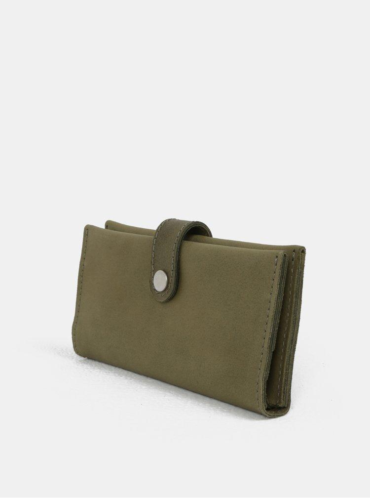 Khaki kožená peněženka WOOX Moneta Magna Viridita