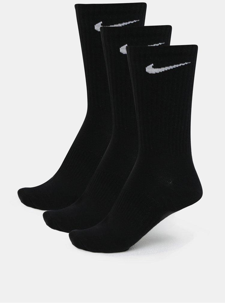 Súprava troch párov vysokých ponožiek v čiernej farbe Nike Lightweight