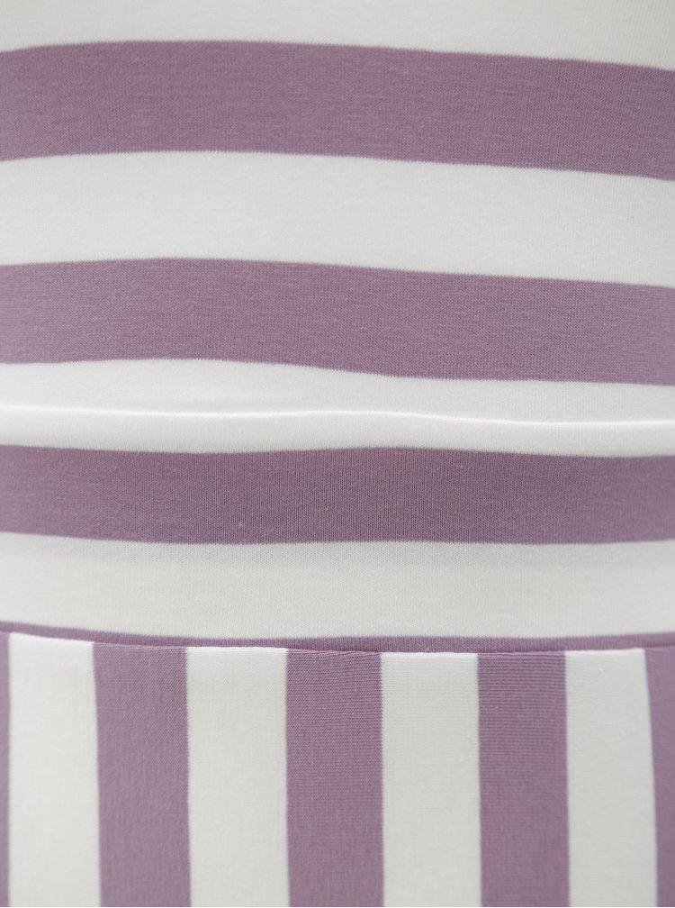 Fialovo-bílé maxišaty s výstřihem na zádech miestni