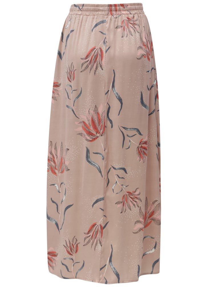 Starorůžová vzorovaná maxi sukně s rozparky VILA Cava