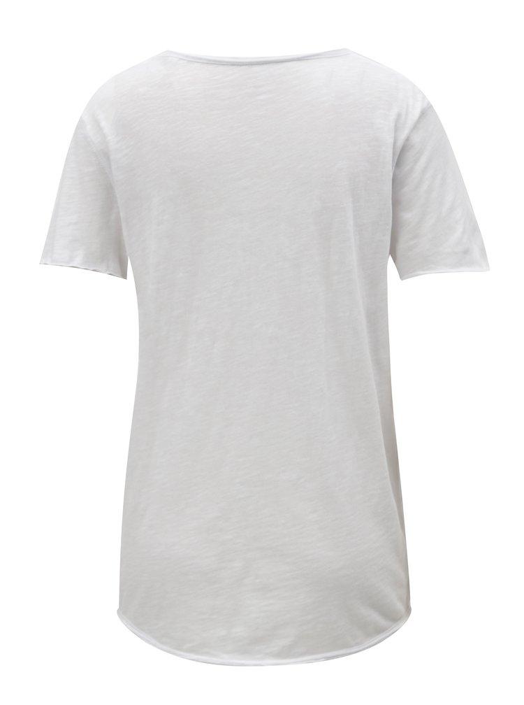 Bílé dámské basic tričko s véčkovým výstřihem Stanley & Stella Slub