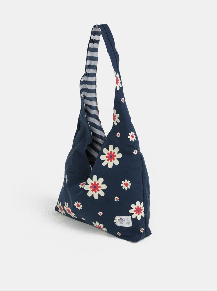 Tmavě modrá květovaná taška přes rameno WOOX Sacculi Flos