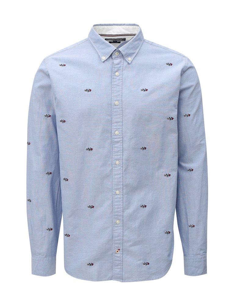 Světle modrá pánská vzorovaná regular fit košile Tommy Hilfiger