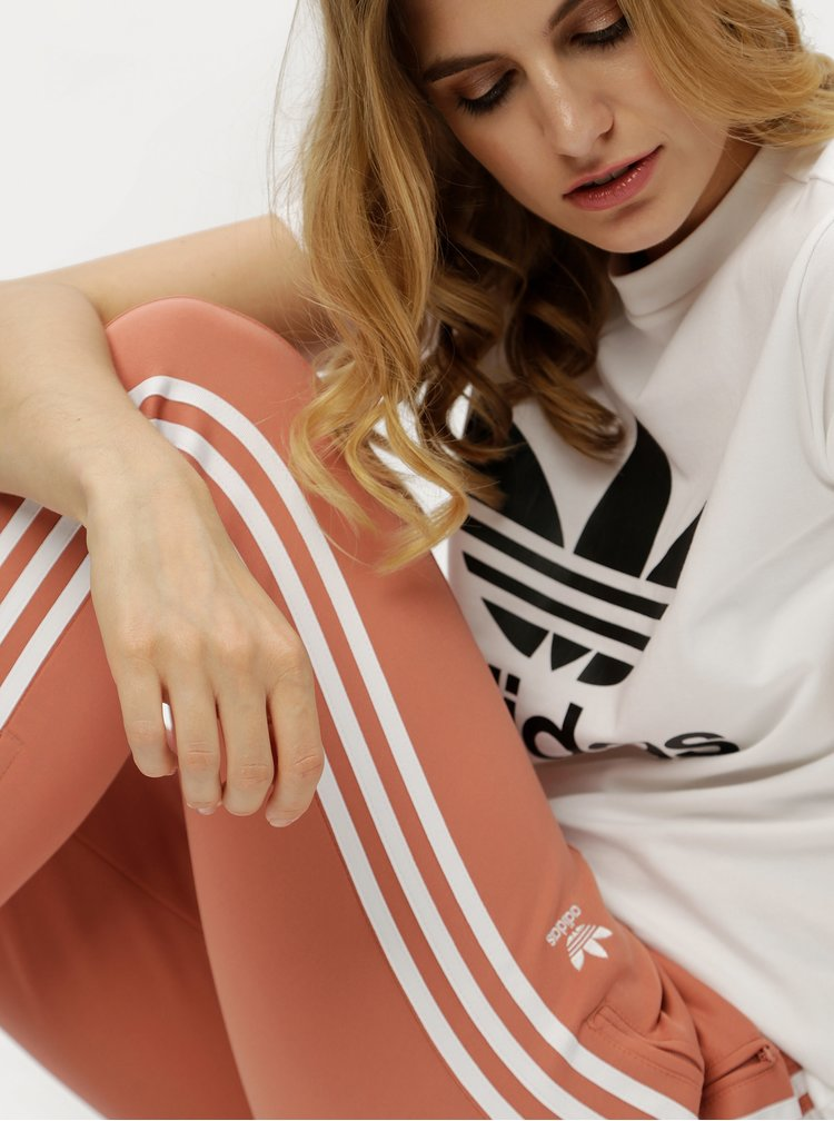 Starorůžové dámské tepláky s pruhy adidas Originals