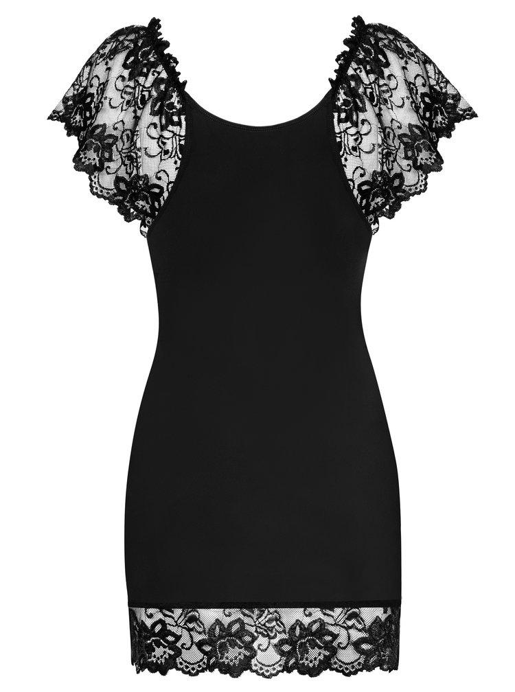 Sada noční košilky s krajkou a tang v černé barvě Obsessive Imperia chemise