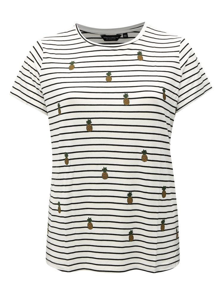 Černo-bílé pruhované tričko s výšivkami Dorothy Perkins Curve