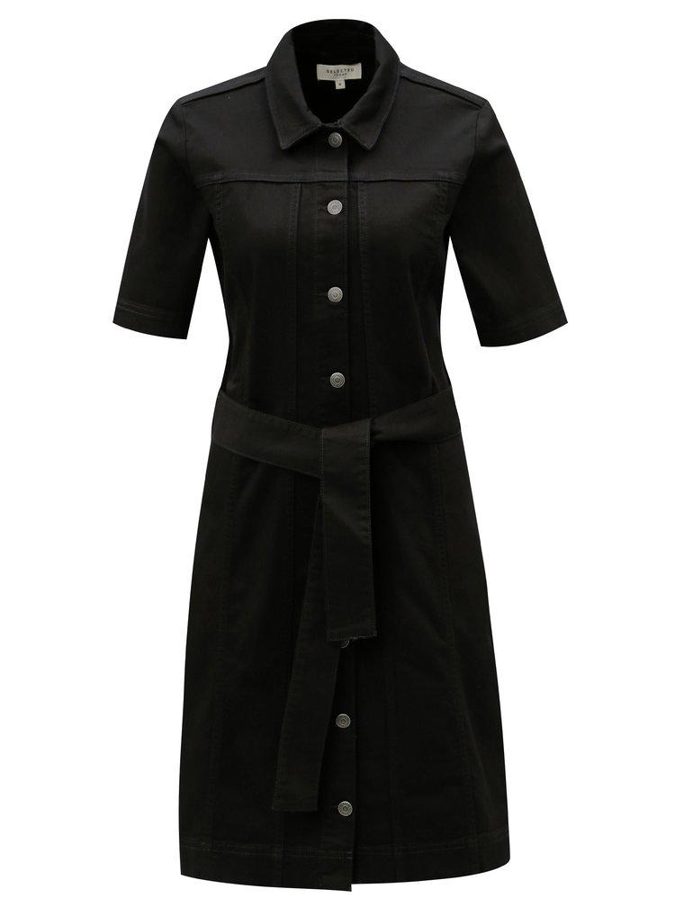Černé košilové šaty s páskem Selected Femme Cat