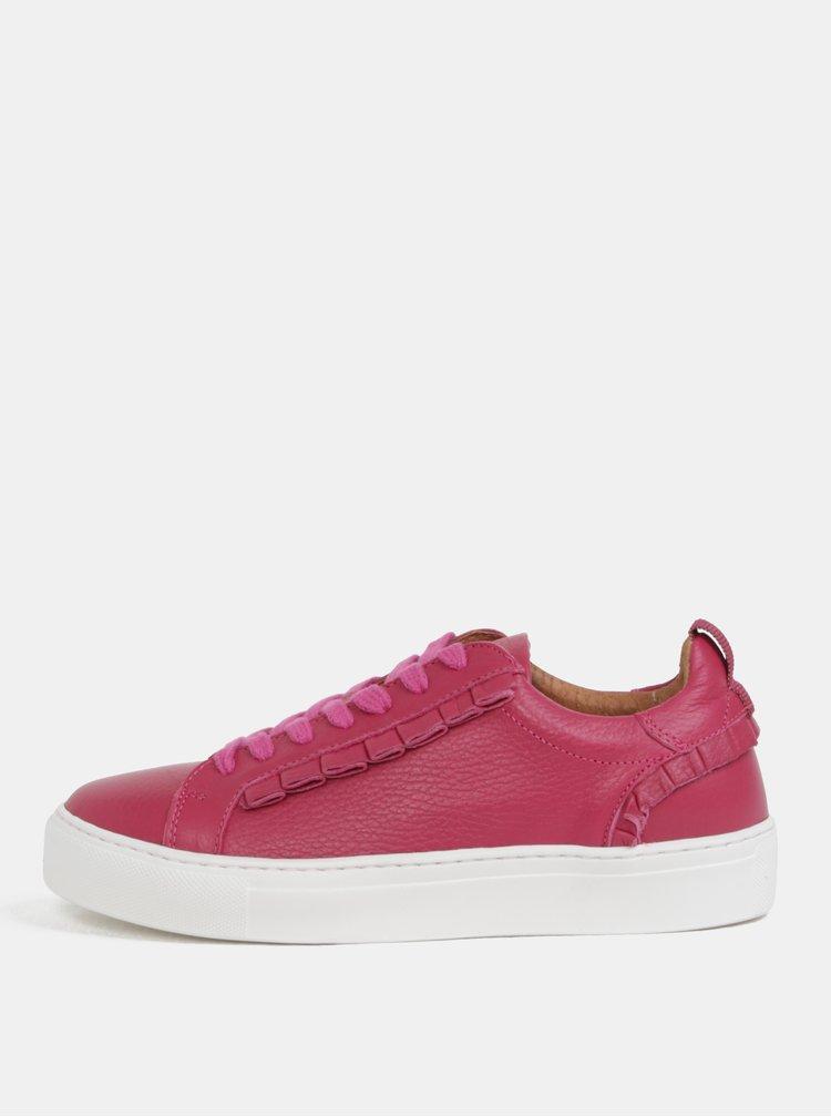 Růžové kožené tenisky na platformě Selected Femme Donna