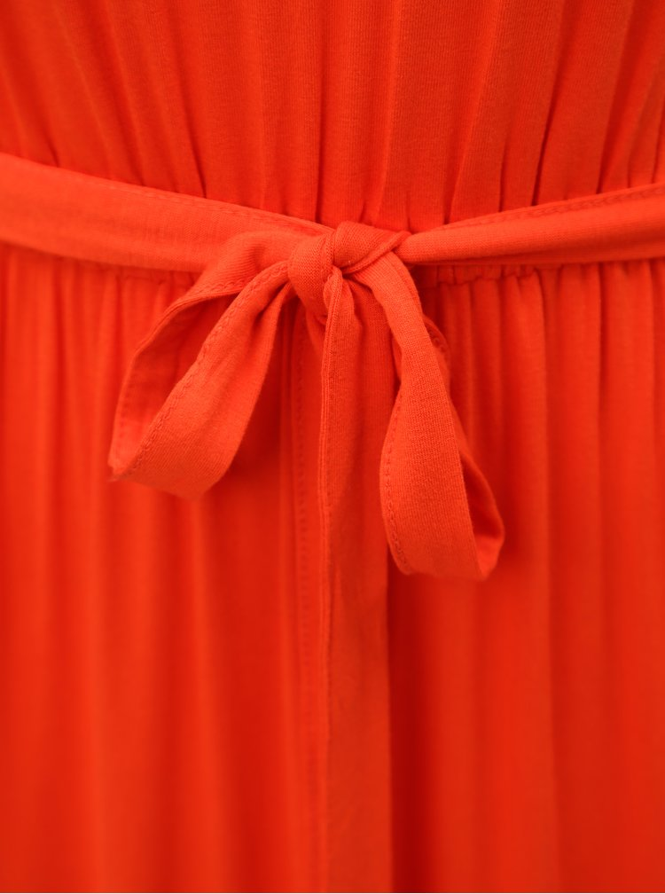 Červené maxišaty s páskem Dorothy Perkins Petite