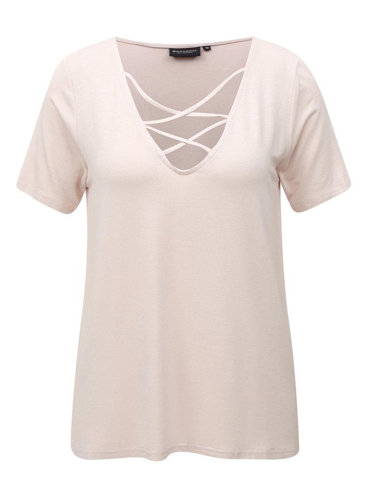 Světle růžové dámské tričko s pásky v dekoltu Broadway Camara