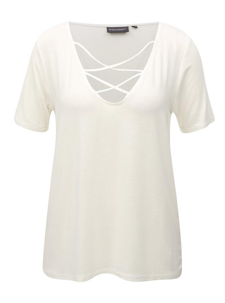 Krémové dámské tričko s pásky v dekoltu Broadway Camara
