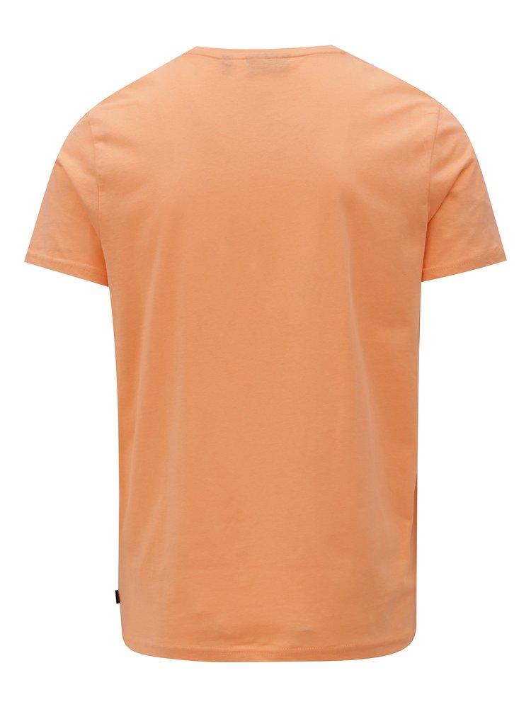 Tricou barbatesc oranj cu print Broadway Ellwood