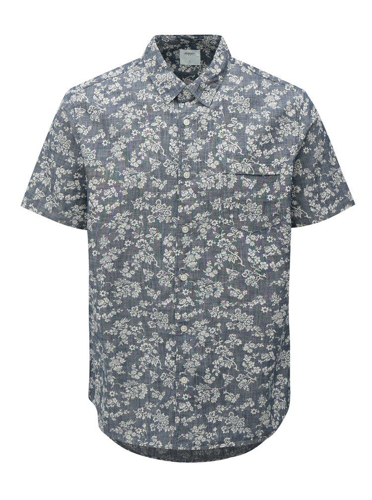 Bílo-modrá květovaná košile Burton Menswear London