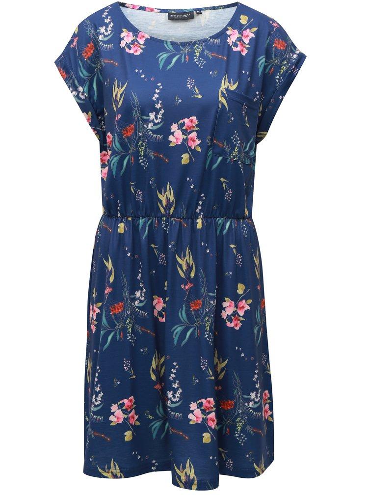 Modré květované šaty s náprsní kapsou Broadway Felicia