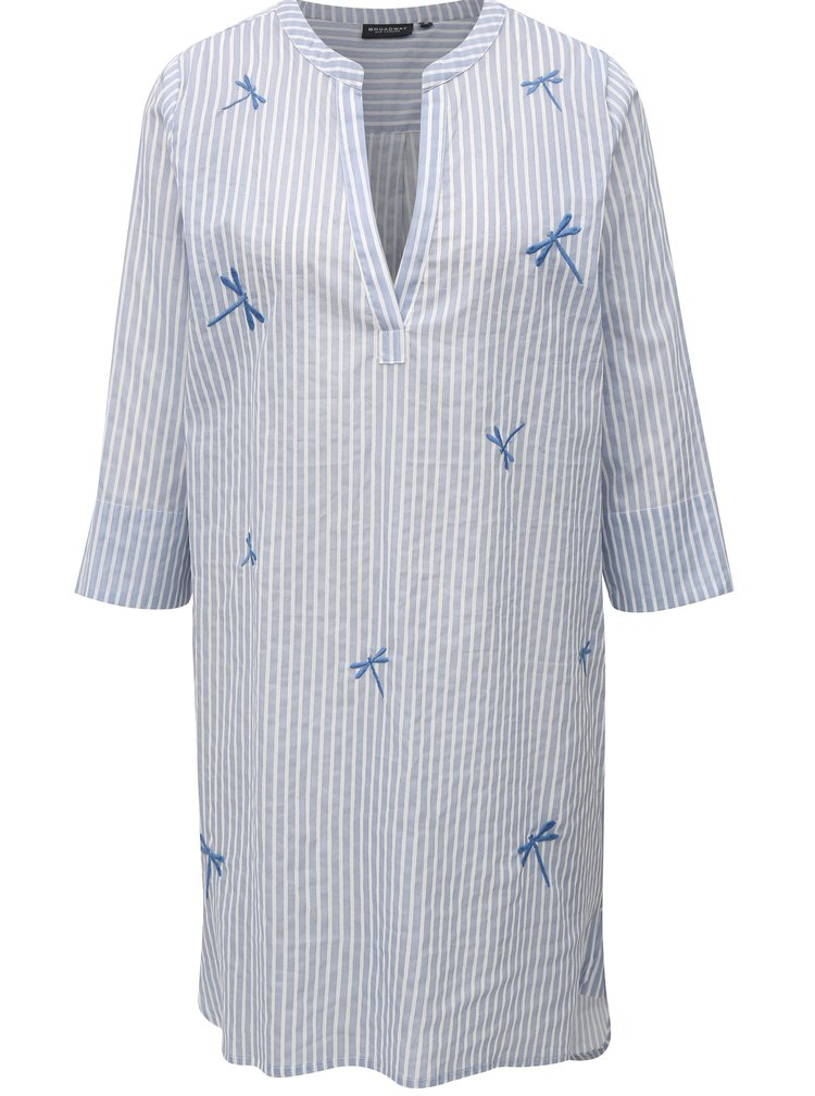 Bílo-modrá pruhovaná tunika s výšivkou Broadway Feechi