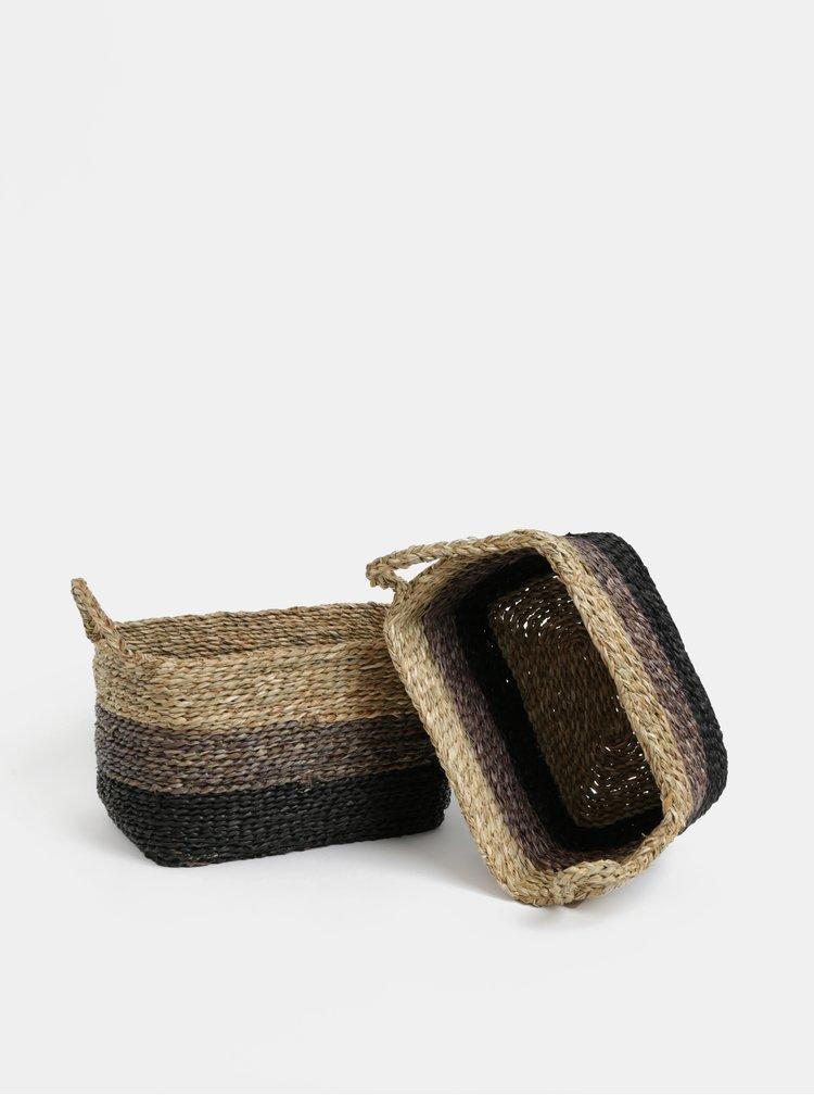 Sada dvou pletených košů v hnědé barvě Dakls