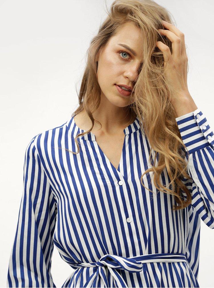 Modrá pruhovaná dlouhá košile se zavazováním VERO MODA Bloom