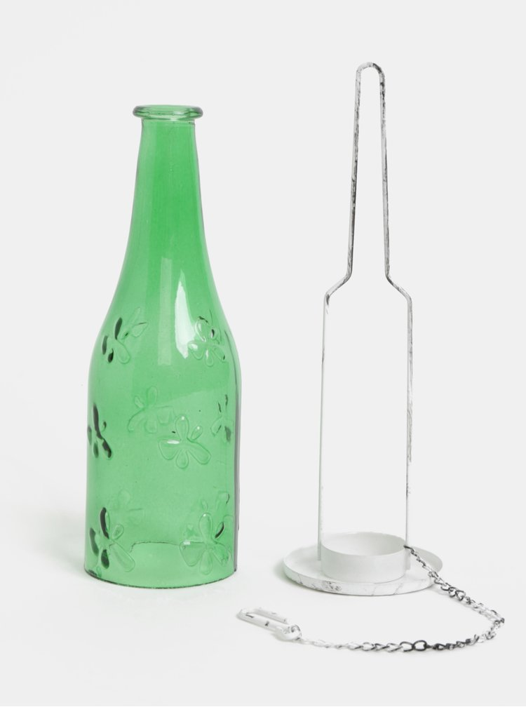 Zelený skleněný závěsný svícen Dakls