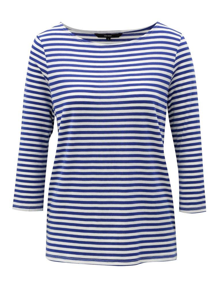 Modré pruhované tričko s 3/4 rukávem VERO MODA Jany