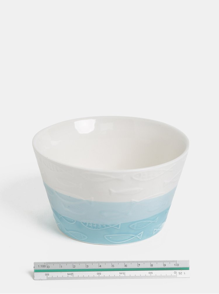 Bílo-modrá vzorovaná miska Dakls