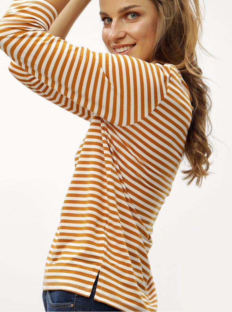 Horčicové pruhované tričko s 3/4 rukávom VERO MODA Jany