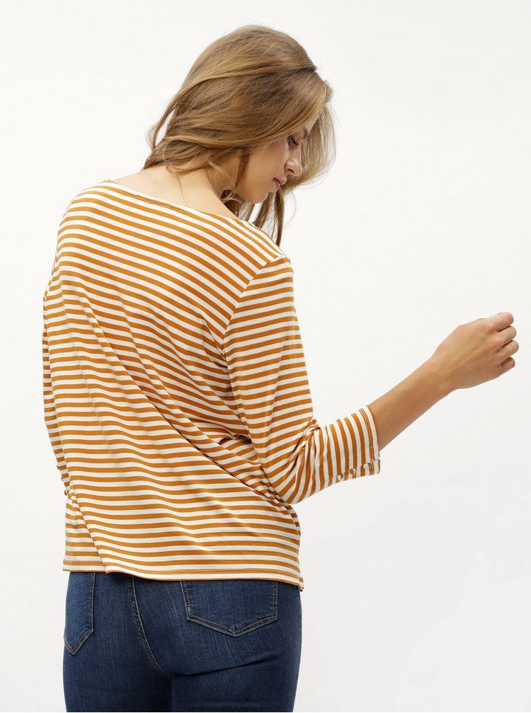 Hořčicové pruhované basic tričko s 3/4 rukávem VERO MODA Jany