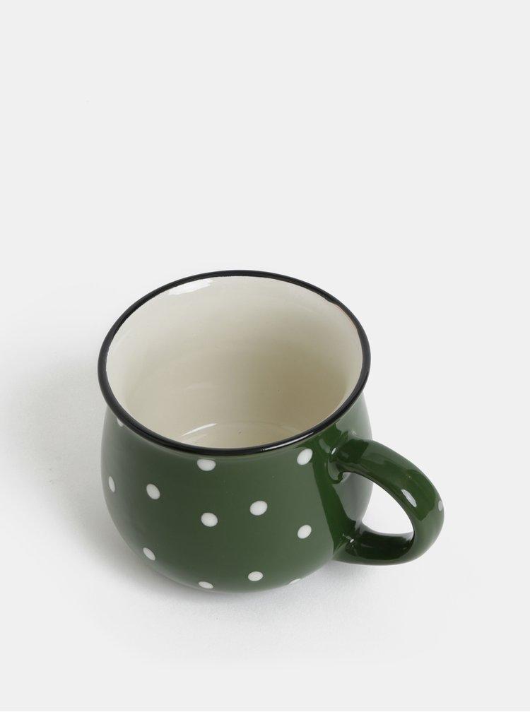 Zelený malý hrnek s puntíky Dakls