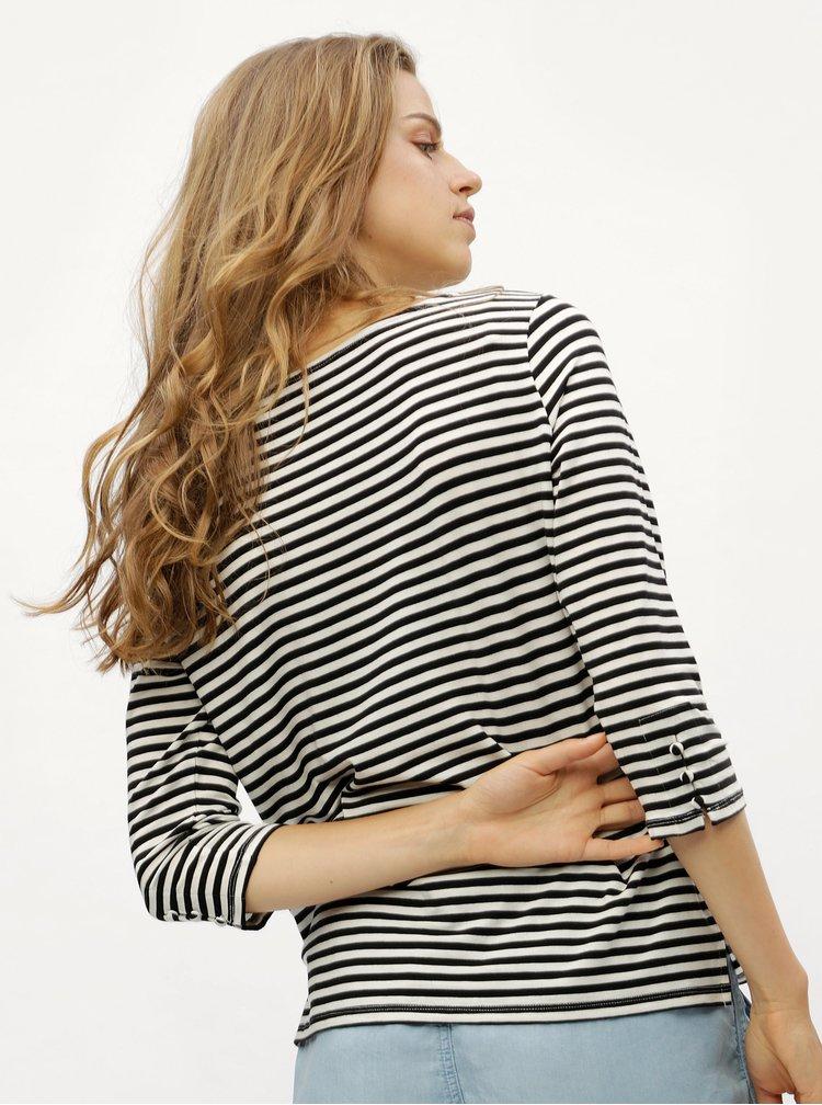 Černé pruhované tričko s 3/4 rukávem VERO MODA Jany