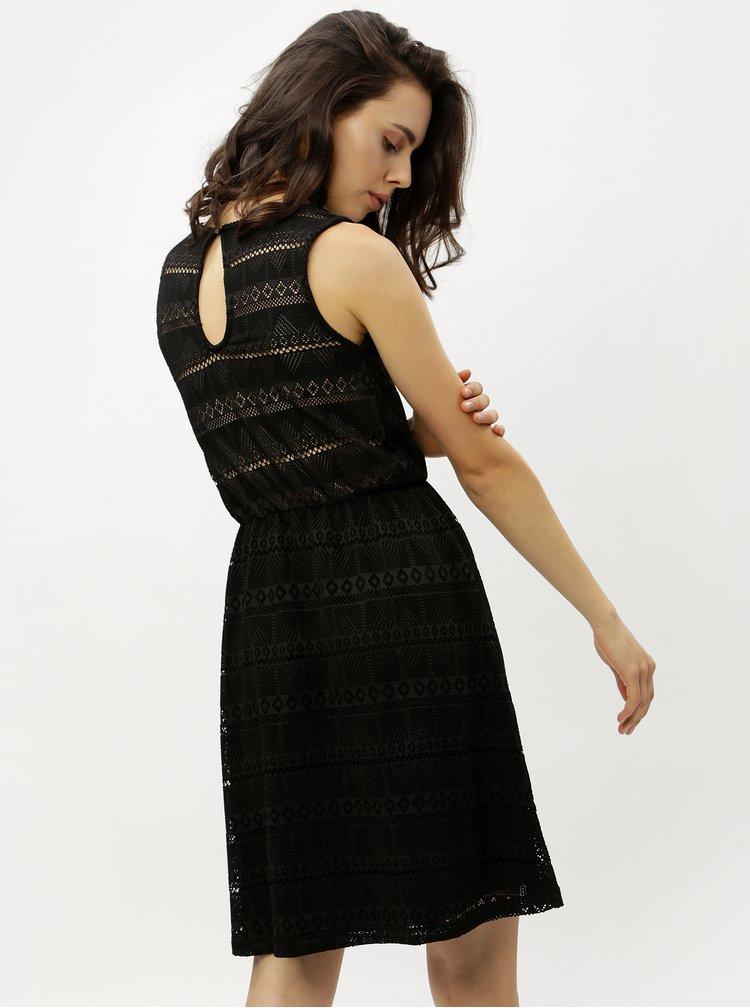 Černé krajkové šaty s průstřihem na zádech ONLY