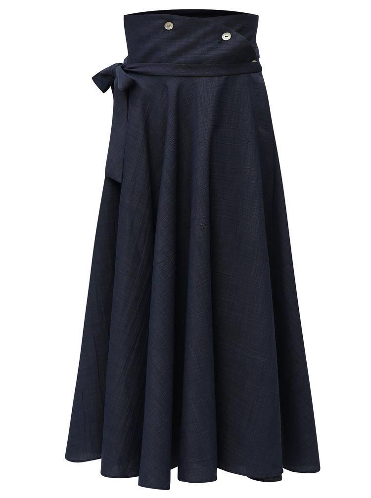 Tmavě modrá zavinovací midi sukně Alexandra Ghiorghie Cassi