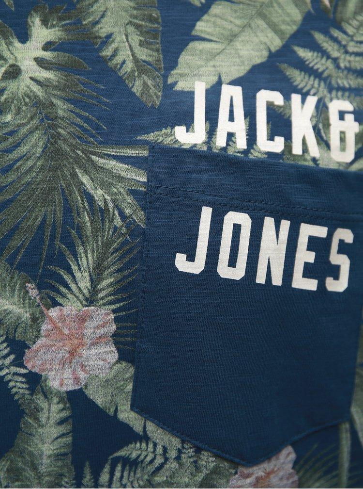 Modré vzorované tričko s kapsou Jack & Jones