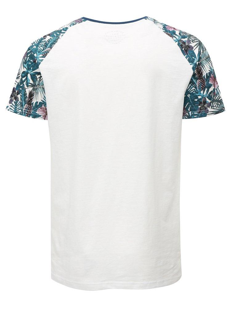 Bílé vzorované tričko s potiskem Jack & Jones