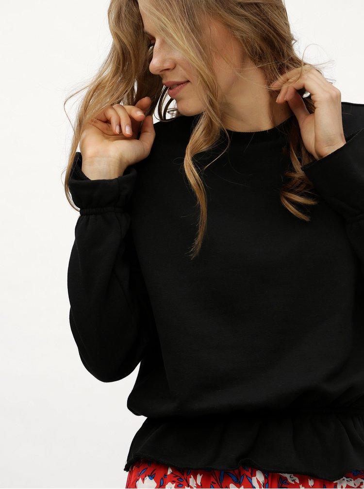 Černá mikina s volánky Noisy May