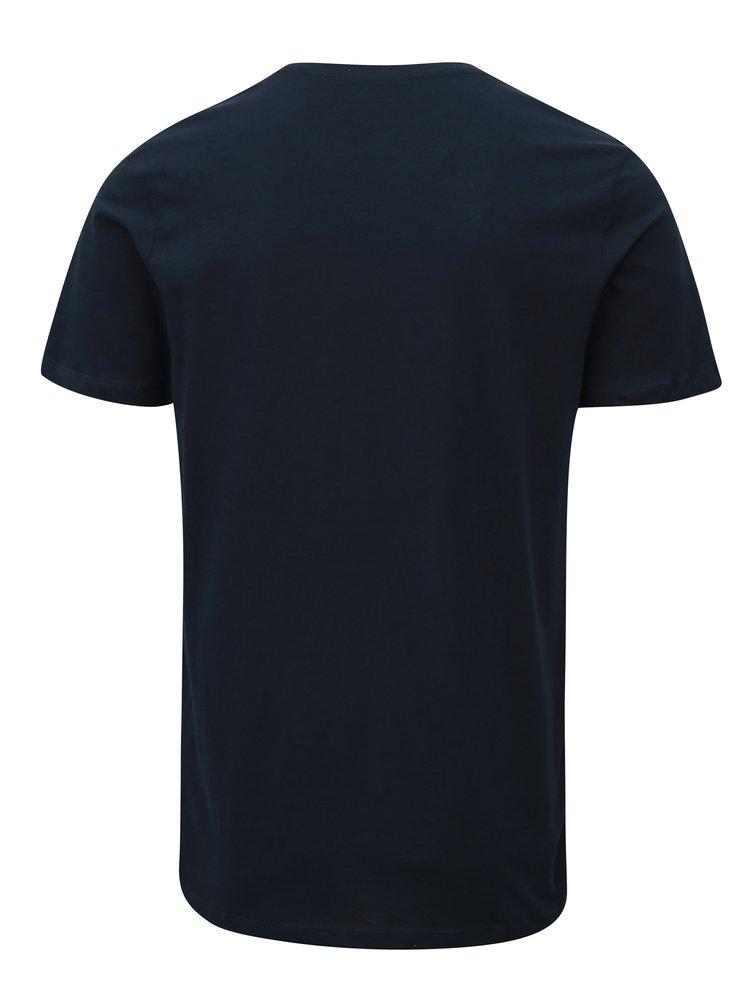 Tricou albastru inchis cu print Jack & Jones